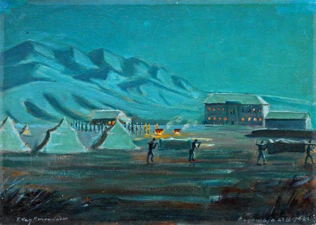 Ofiary duru, Ługowaja, Kazachstan, 1942, Feliks Kay-Krzewinski, 1900-1981